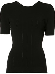 Rochas Cut Out Knitted Top Black