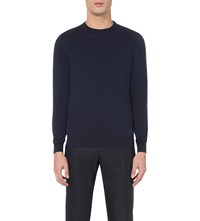 Canali Crewneck Knitted Jumper Navy