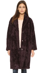 Whistles Teddie Faux Fur Cocoon Coat Bordeaux
