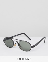 Reclaimed Vintage Round Sunglasses With Brow Bar Black
