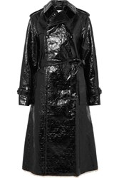 Sonia Rykiel Crinkled Coated Cotton Blend Trench Coat Black Gbp