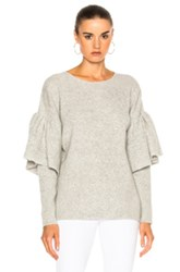 Ryan Roche Ruffled Sleeve Drop Shoulder Sweater In Gray