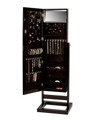 Mele Verona Mirrored Jewelry Armoire Brown