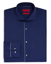 Hugo Jimmy Outer Button Panel Slim Fit Dress Shirt Navy White