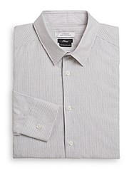 Versace Trend Fit Striped Cotton Dress Shirt Grey