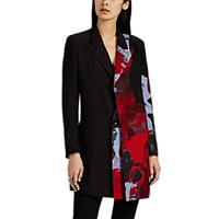 Yohji Yamamoto Graphic Washed Satin Paneled Jacket Black Red