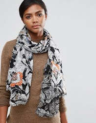 French Connection Arabella Rose Scarf Black Floral