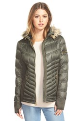 Michael Michael Kors Faux Fur Trim Hood Embossed Down And Feather Fill Mixed Media Jacket Olive