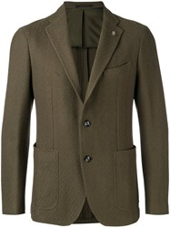 Tagliatore Notched Lapel Blazer Men Cotton Cupro 46 Green
