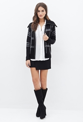 Forever 21 Fuzzy Plaid Shawl Collar Jacket