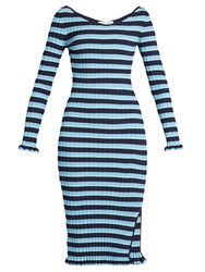 Altuzarra Soccorro Striped Ribbed Knit Dress Blue Multi
