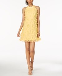 Jax Embroidered Applique Halter Dress Yellow