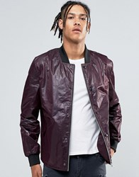 Asos Lightweight Textured Bomber Jacket In Burgundy Burgundy