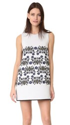 Cynthia Rowley Bonded Embroidered Shift Dress White Ruby