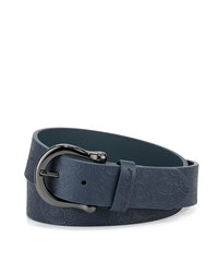 Robert Graham Vince Paisley Embossed Leather Belt Navy