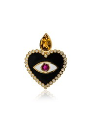 Holly Dyment Ruby And Diamond Heart Evil Eye Pendant Necklace Black
