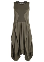 High Braque Mesh Panelled Jersey Dress Khaki