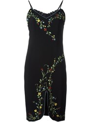 Moschino Vintage Embroidered Floral Dress Black