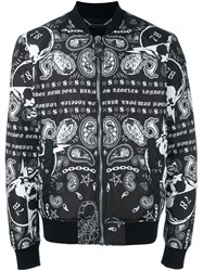 Philipp Plein Printed Bomber Jacket Black