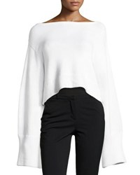 Milly Oversized Cropped Pullover Sweater White