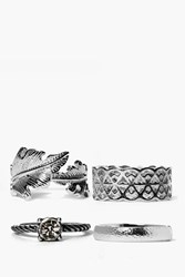 Boohoo Mixed Leaf And Stone Detail Ring Pack Silver
