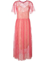 Forte Forte Shortsleeved Sheer Lace Dress Pink And Purple