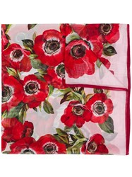 Dolce And Gabbana Floral Scarf Red