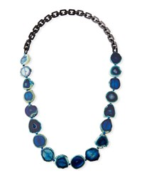 Nest Long Dark Horn And Blue Agate Necklace