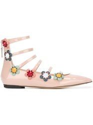 Fendi Flower Applique Ballerinas Pink And Purple