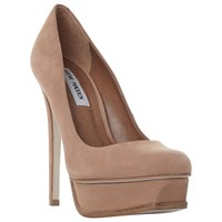 Steve Madden Kiss Platform Stiletto Heel Court Shoes Tan Nubuck