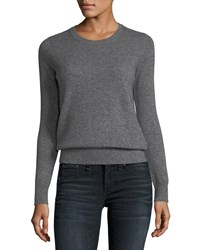 Neiman Marcus Plus Size Classic Cashmere Crewneck Sweater Heather Grey