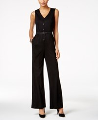 Nine West Pinstriped Jumpsuit Black Grey
