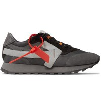 Off White Leather Trimmed Shell And Suede Sneakers Dark Gray
