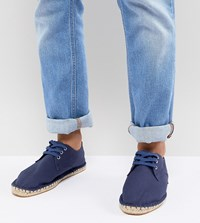 Asos Wide Fit Lace Up Espadrilles In Navy Canvas