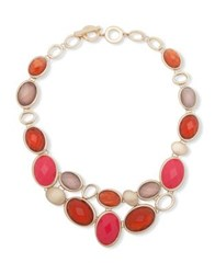 Anne Klein Faux Mother Of Pearl And Crystal Bib Necklace Red