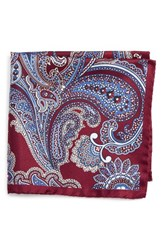 Eton Men's Paisley Silk Pocket Square Red