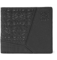 Loewe Logo Debossed Full And Cross Grain Leather Billfold Wallet Black