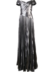 J. Mendel Matte Metallic Grey Pleated Dress
