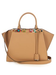 Fendi 3Jours Embellished Leather Tote Beige Multi