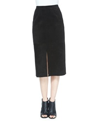 Alexa Chung For Ag The Ortiz Suede Skirt Super Black