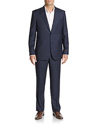 Saks Fifth Avenue Regular Fit Plaid Wool Suit Black