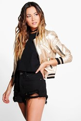 Boohoo Metallic Leather Look Bomber Gold