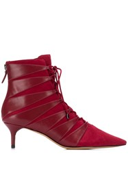 Alexandre Birman Pointed Ankle Boots Red