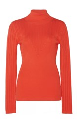 Manoush Red Ribbed Knit Turtleneck