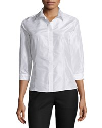 Carolina Herrera Taffeta 3 4 Sleeve Blouse White