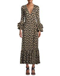 Diane Von Furstenberg Printed Ruffle Sleeve Silk Wrap Dress Blue Black