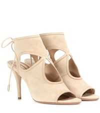 Aquazzura Sexy Thing Suede Sandals Beige