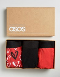 Asos Trunks In Gift Box With Heart Print 3 Pack Black