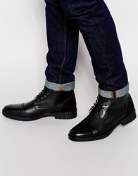 Asos Boots In Black Leather With Faux Shearling Lining