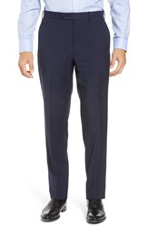 John W. Nordstrom Big And Tall Torino Traditional Fit Flat Front Plaid Wool Trousers Navy